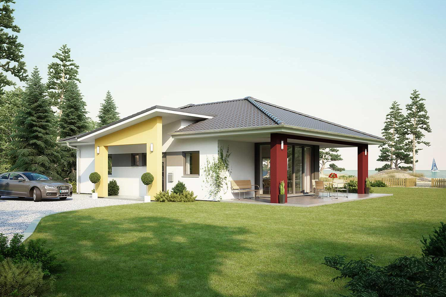 architekten haus comfort fertighaus bungalow. Black Bedroom Furniture Sets. Home Design Ideas